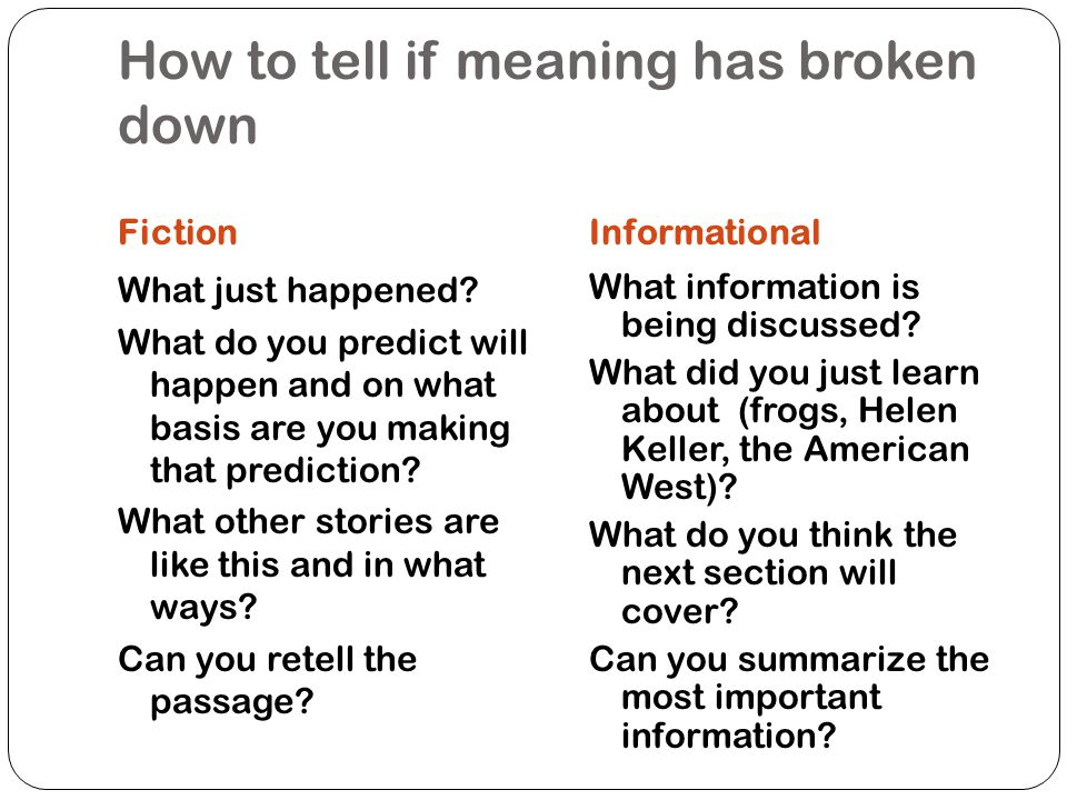 How to tell if meaning has broken down