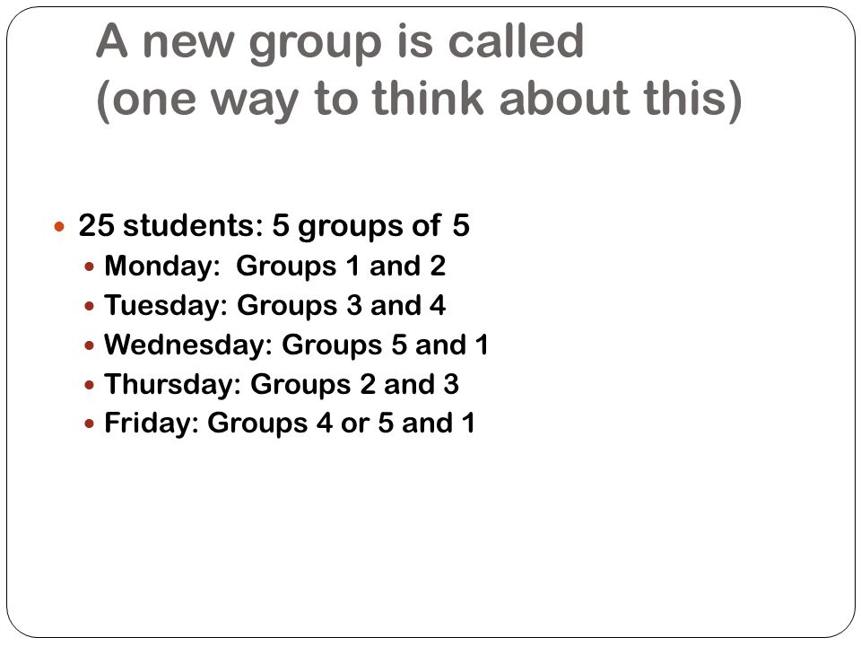 A new group is called (one way to think about this)