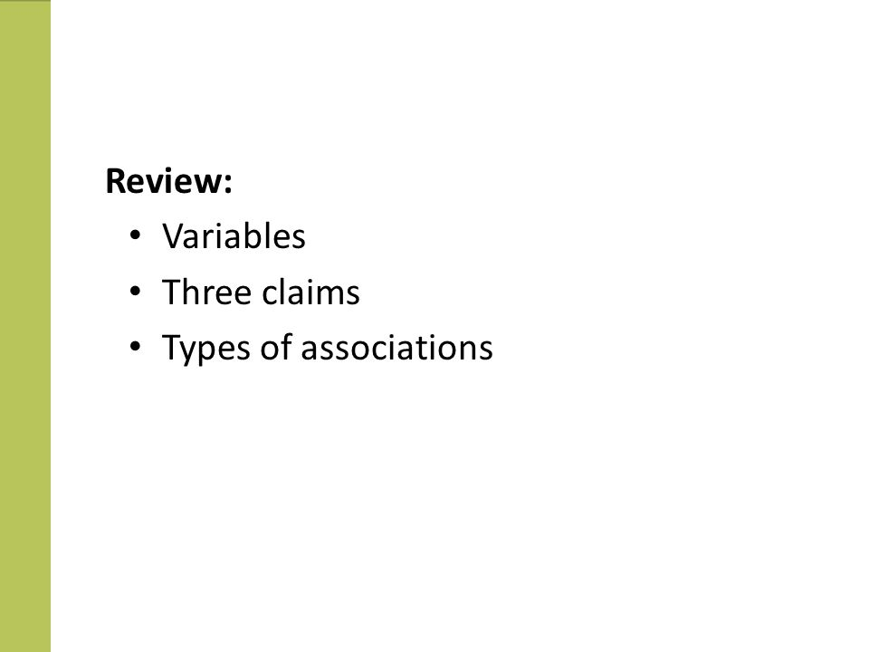 Review Review: Variables Three claims Types of associations