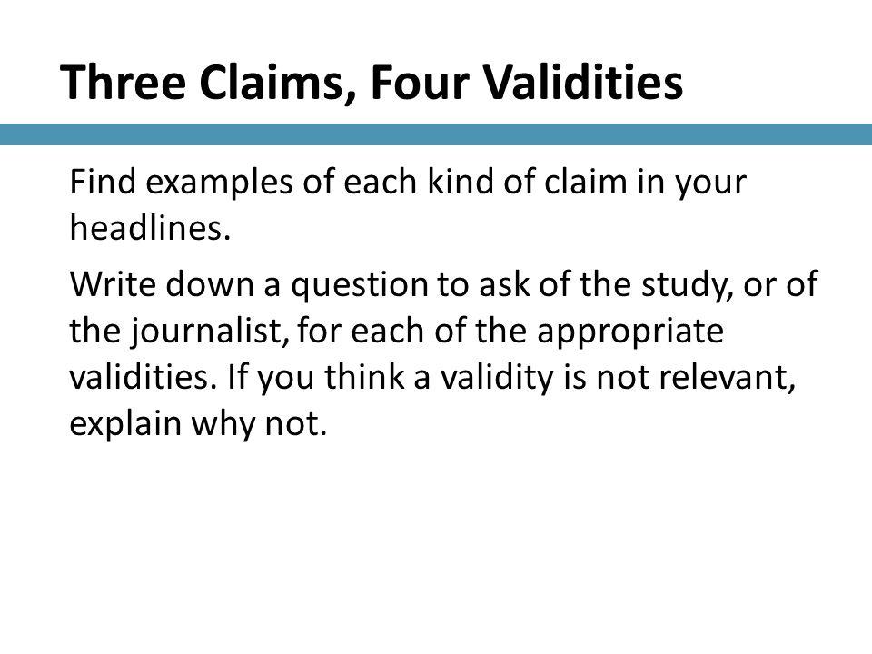 Three Claims, Four Validities