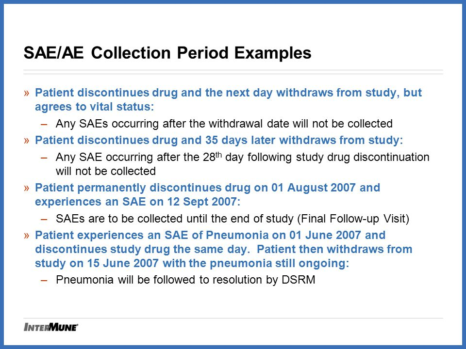 SAE/AE Collection Period Examples
