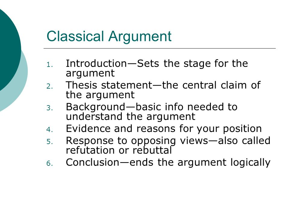 Classical Argument Introduction—Sets the stage for the argument