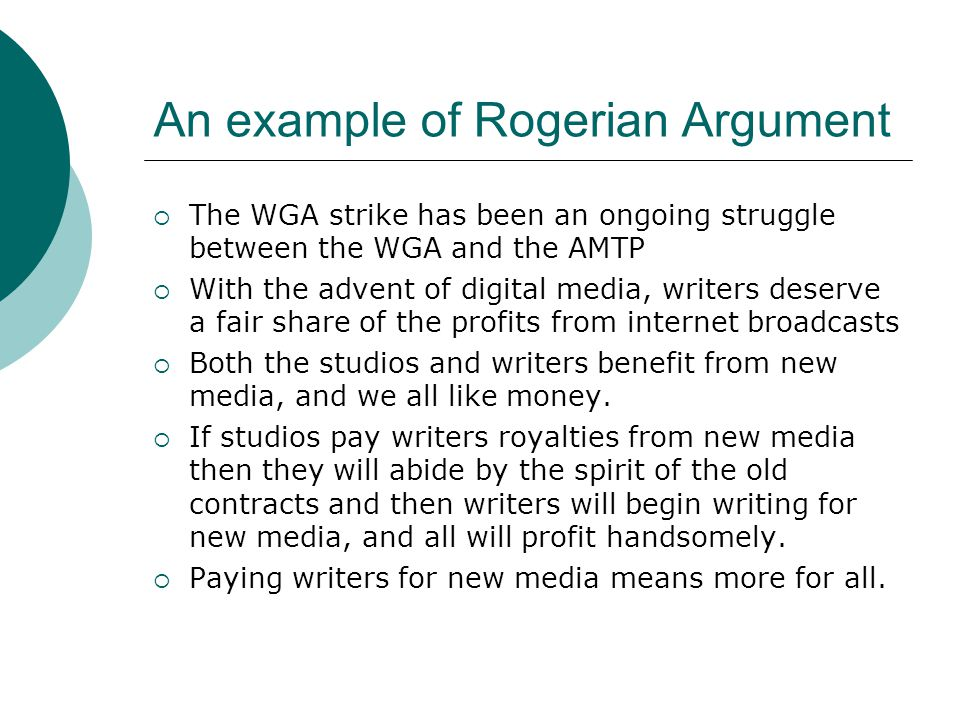 rogerian argument research paper Rogerian model of argument: dialogue day the rogerian argument is a persuasive strategy based on collaboration and write a position paper.