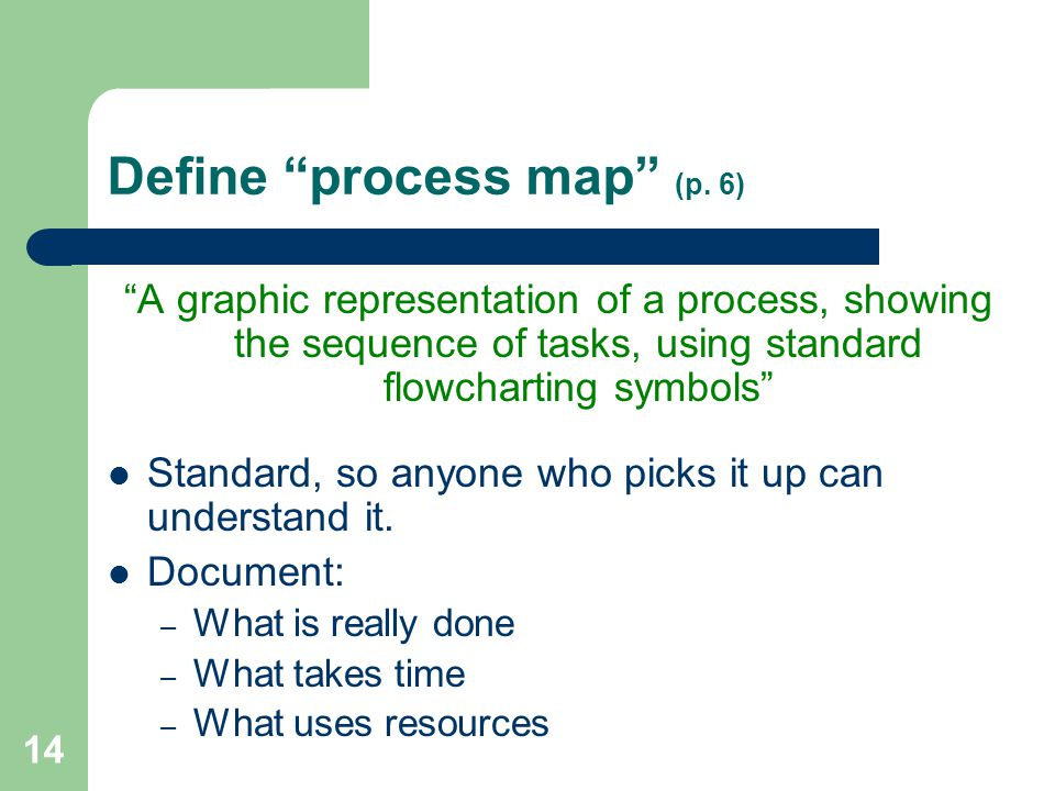 Define process map (p. 6)