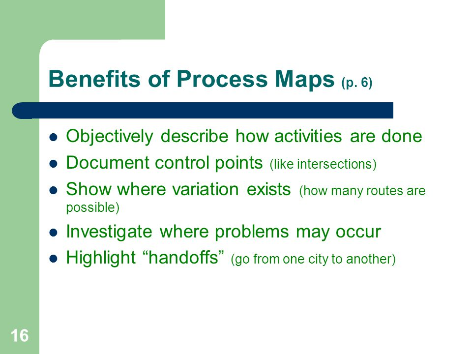 Benefits of Process Maps (p. 6)