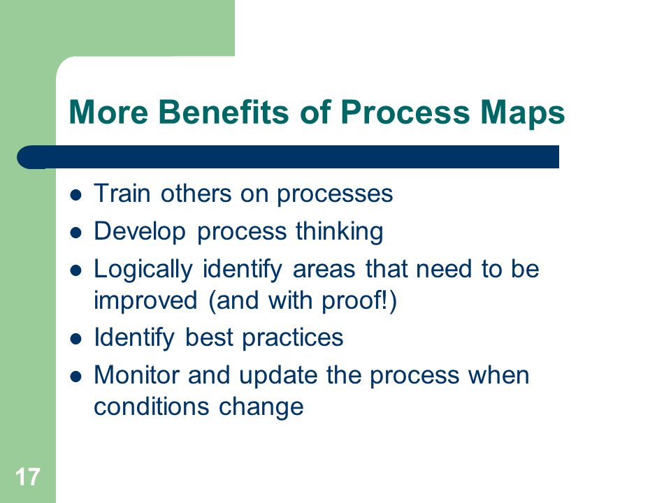 More Benefits of Process Maps