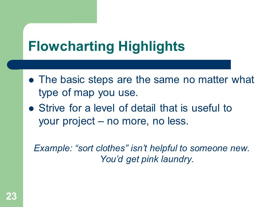 Flowcharting Highlights