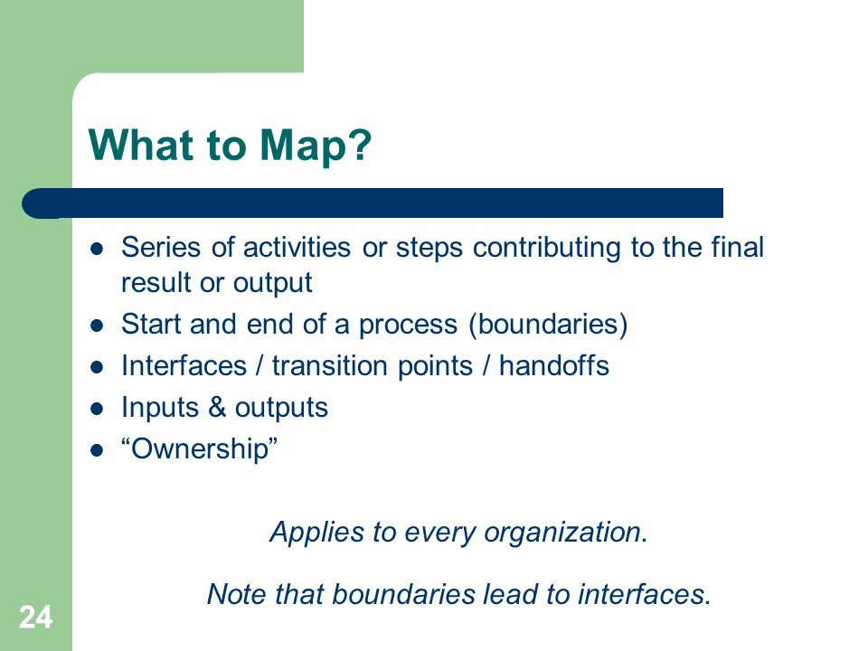 What to Map Series of activities or steps contributing to the final result or output. Start and end of a process (boundaries)