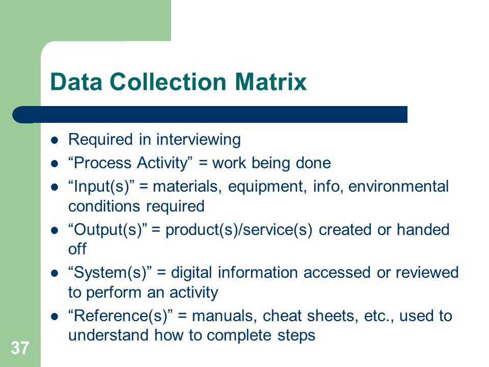 Data Collection Matrix