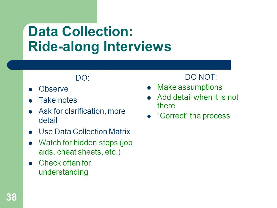 Data Collection: Ride-along Interviews