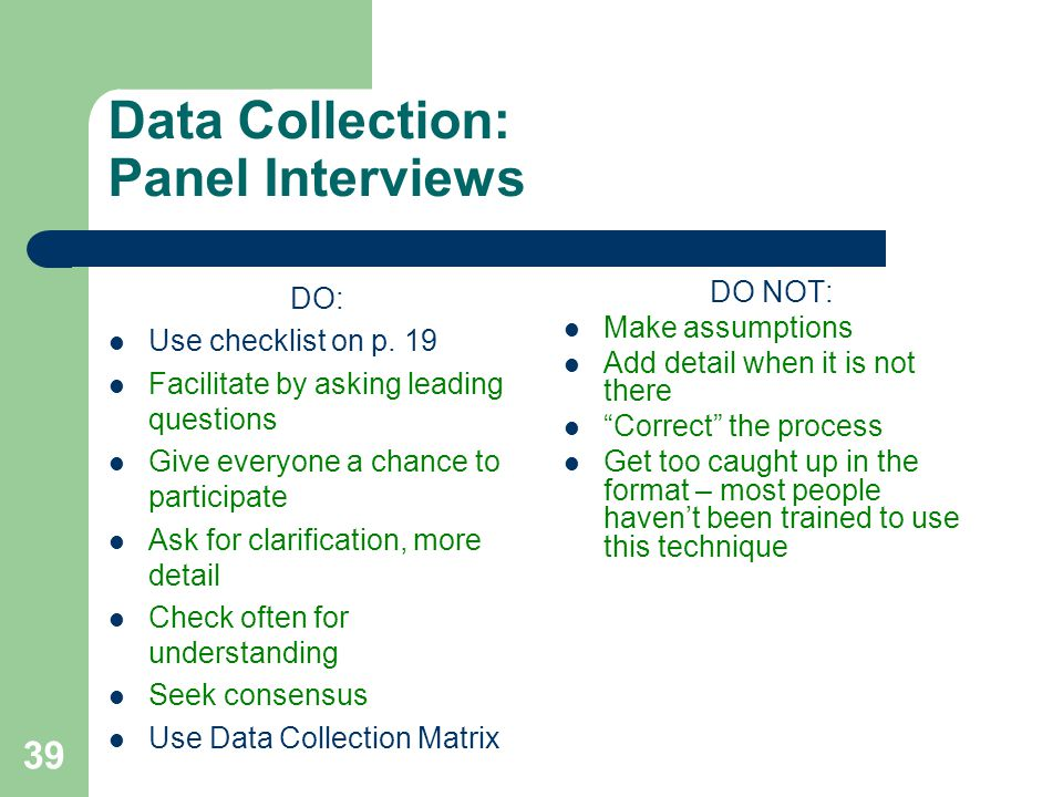 Data Collection: Panel Interviews