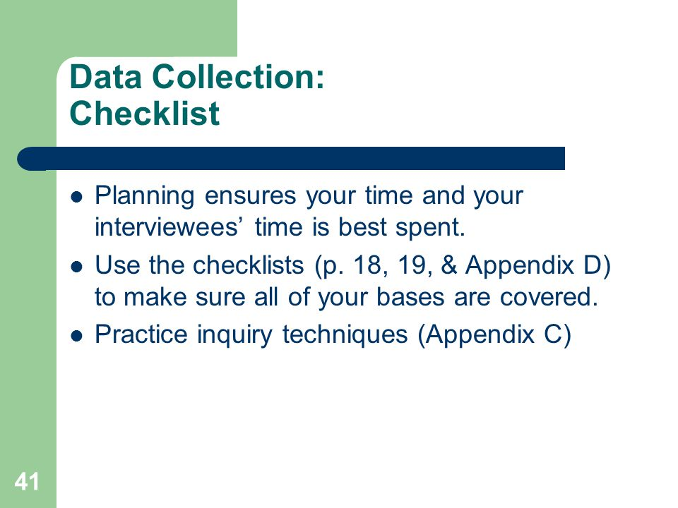 Data Collection: Checklist
