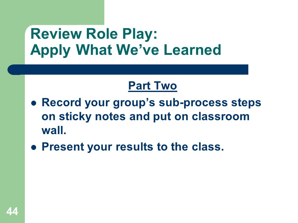 Review Role Play: Apply What We've Learned
