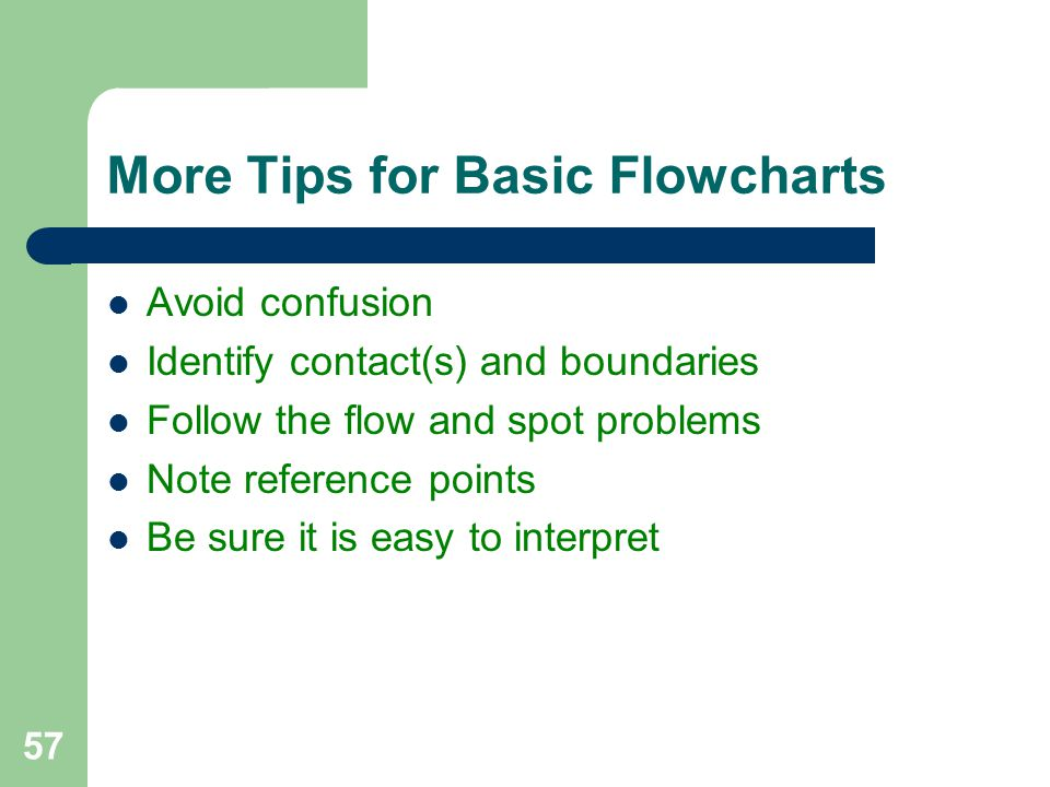 More Tips for Basic Flowcharts