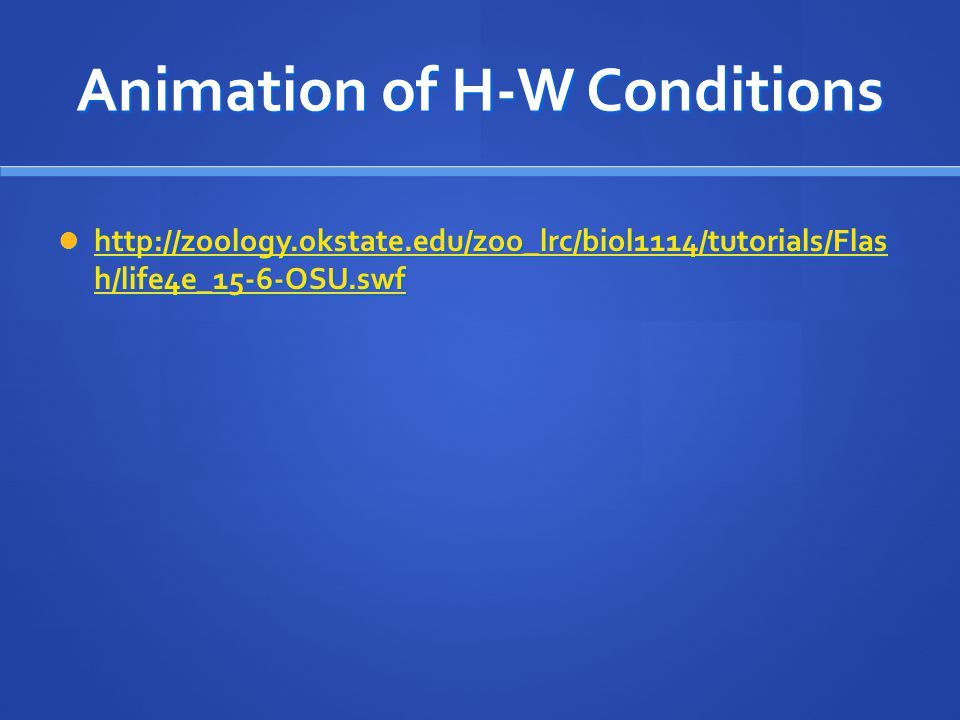 Animation of H-W Conditions