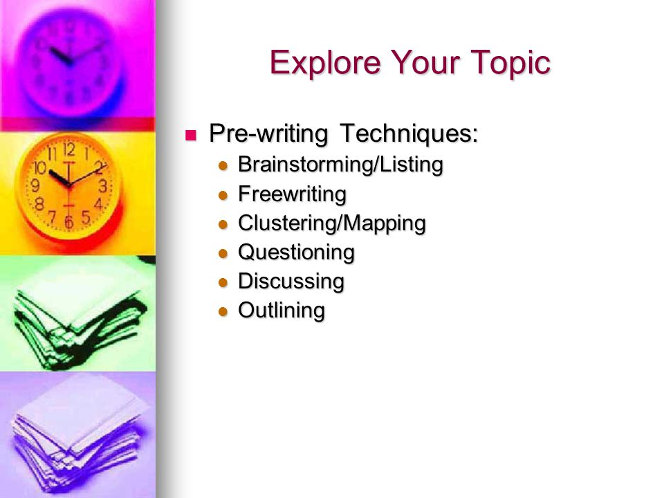 Explore Your Topic Pre-writing Techniques: Brainstorming/Listing