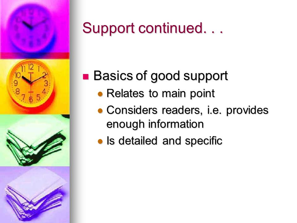 Support continued. . . Basics of good support Relates to main point