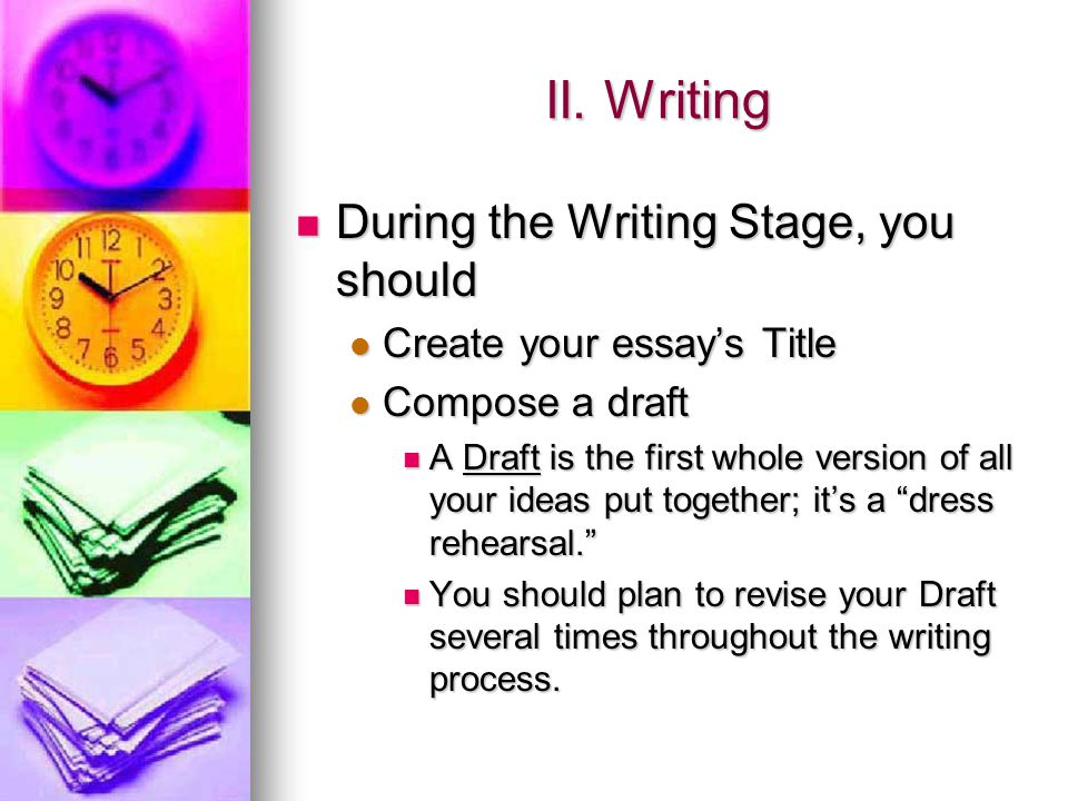 II. Writing During the Writing Stage, you should