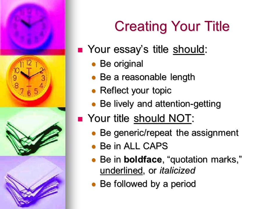 essay title quotes italicized Using italics and underlining  when an exclamation mark or question mark is part of a title, make sure that that mark is italicized along with the title.