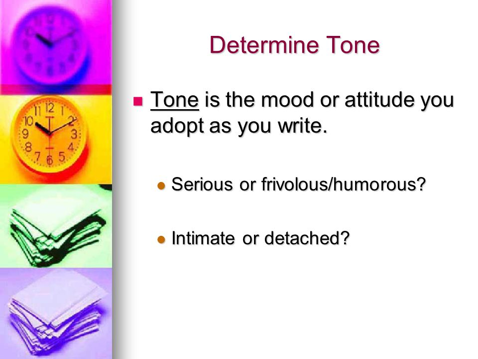 determining tone of an essay Tone refers to the writer's voice in a written work it is what the reader or hearer  might perceive as the writer's attitude, bias, or personality many academic writers .