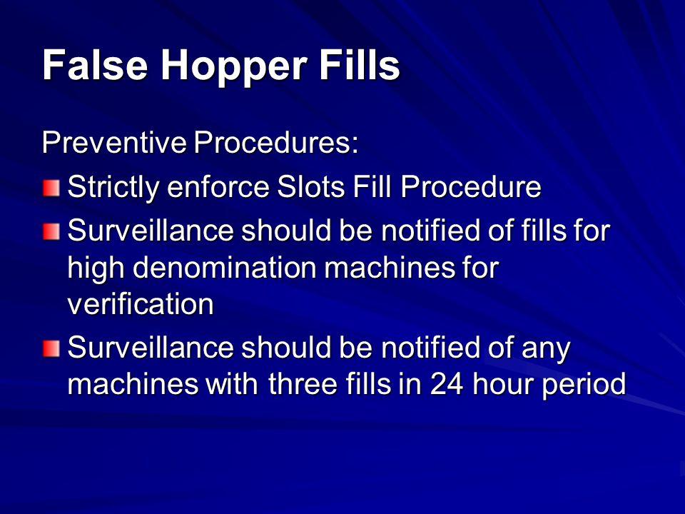 False Hopper Fills Preventive Procedures: