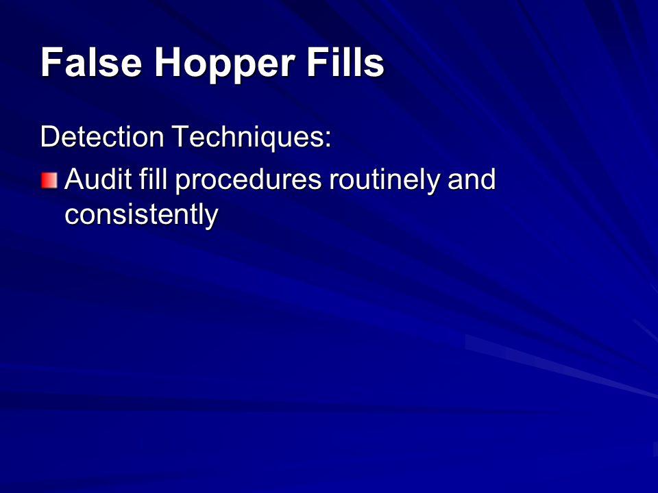 False Hopper Fills Detection Techniques: