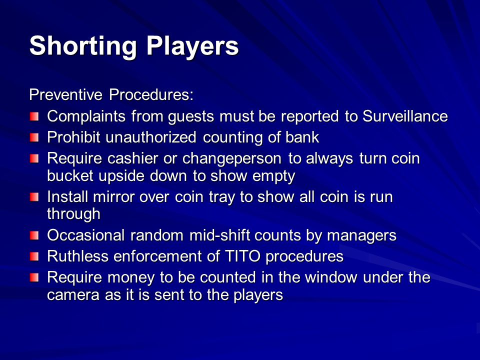 Shorting Players Preventive Procedures: