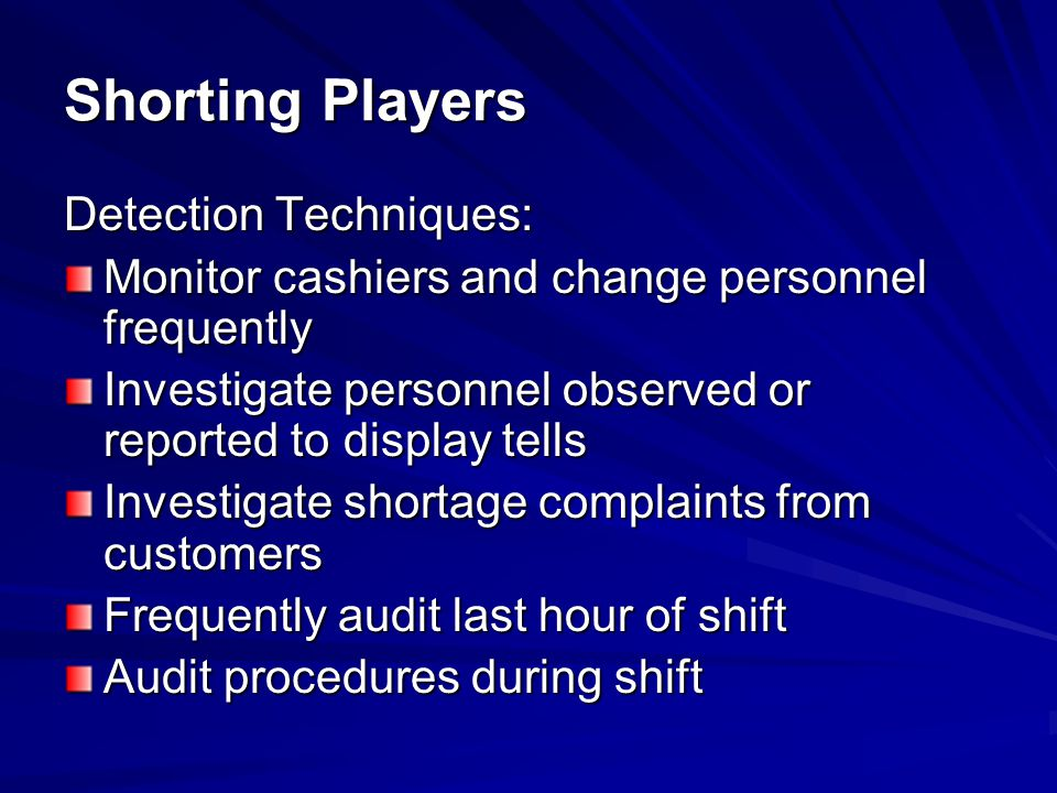 Shorting Players Detection Techniques: