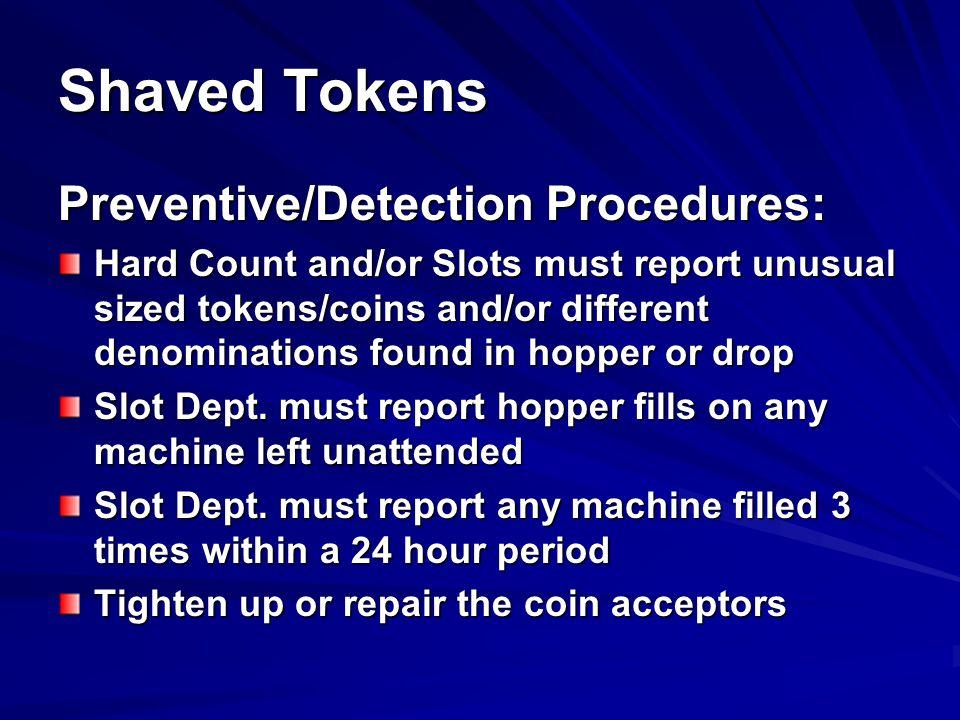 Shaved Tokens Preventive/Detection Procedures: