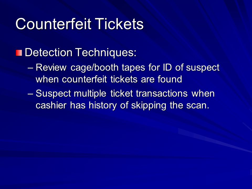 Counterfeit Tickets Detection Techniques: