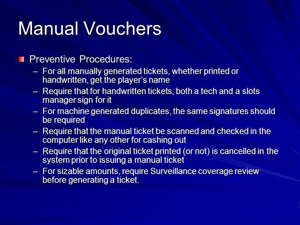 Manual Vouchers Preventive Procedures: