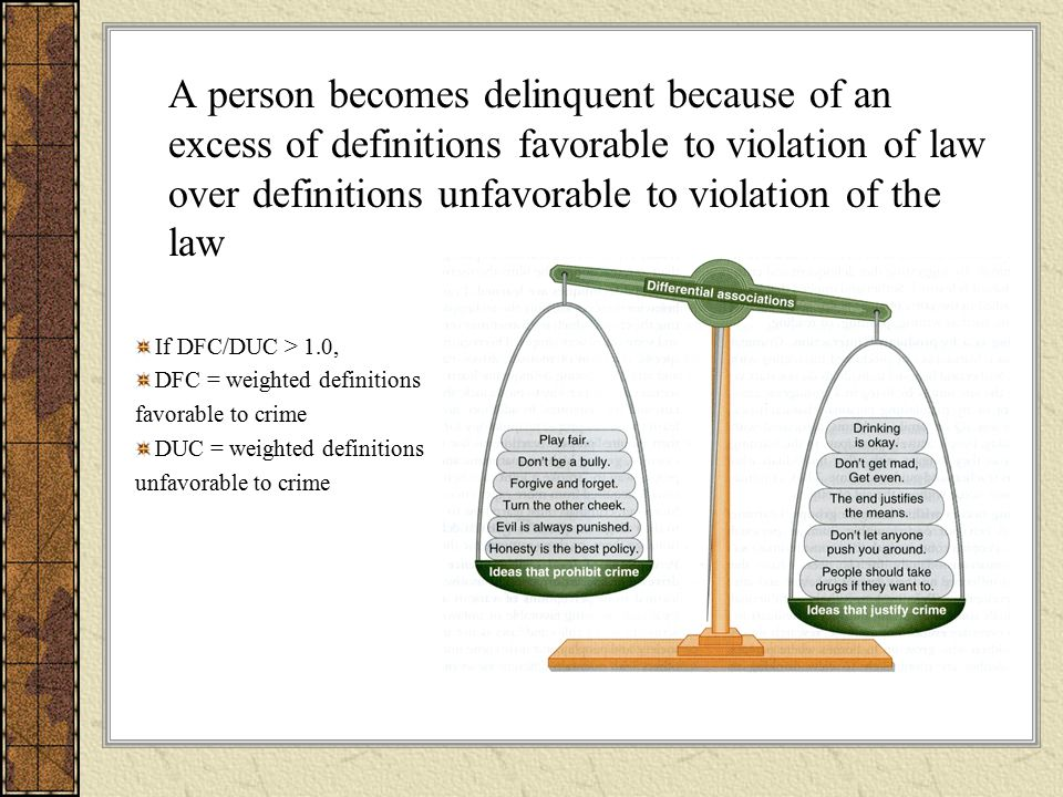 A person becomes delinquent because of an excess of definitions favorable to violation of law over definitions unfavorable to violation of the law