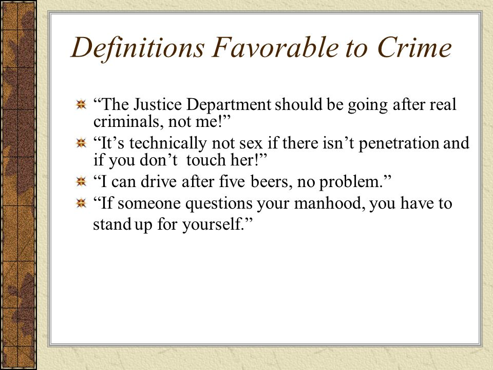 Definitions Favorable to Crime
