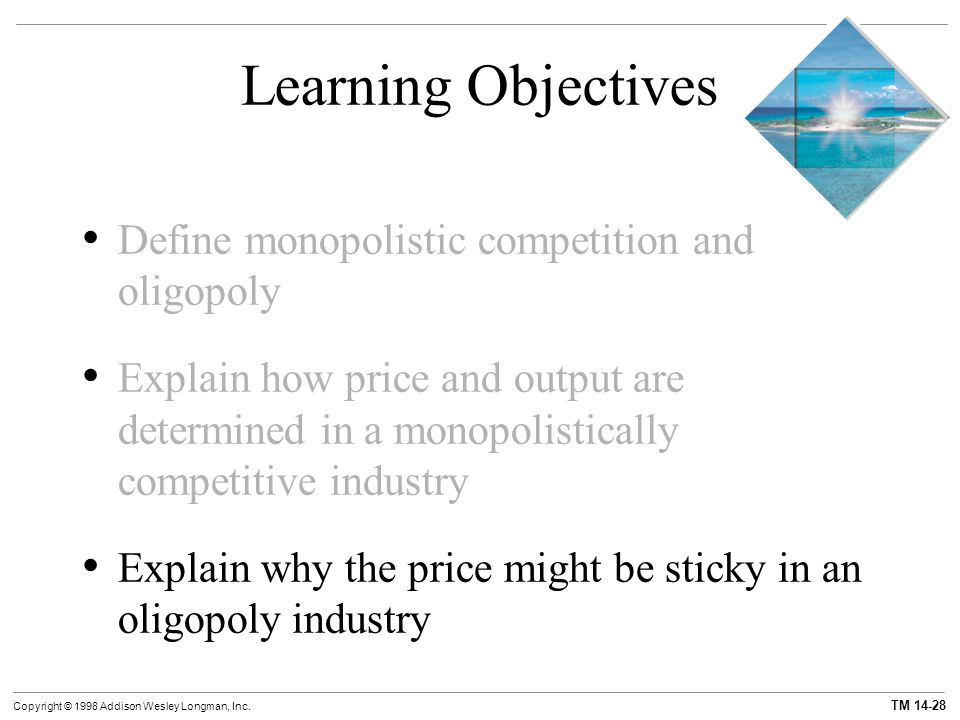 Learning Objectives Define monopolistic competition and oligopoly