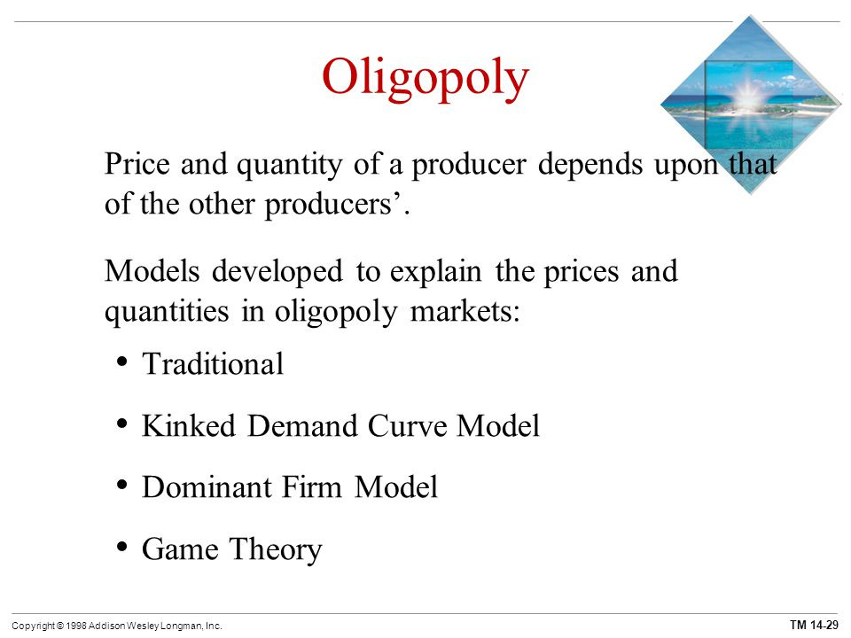 Oligopoly Price and quantity of a producer depends upon that of the other producers'.