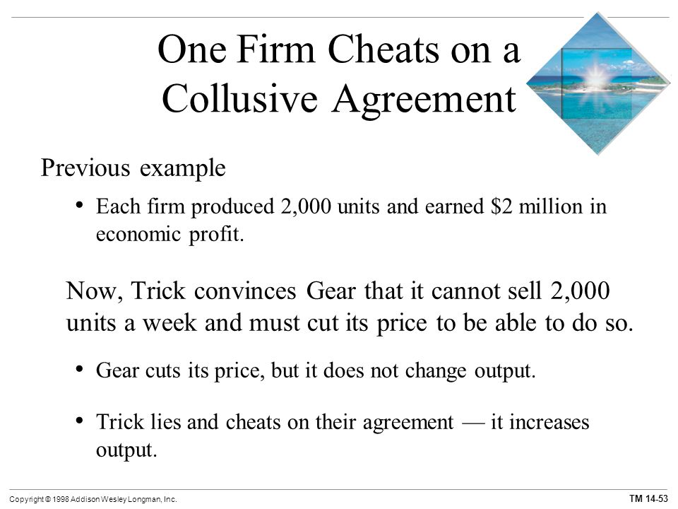 One Firm Cheats on a Collusive Agreement