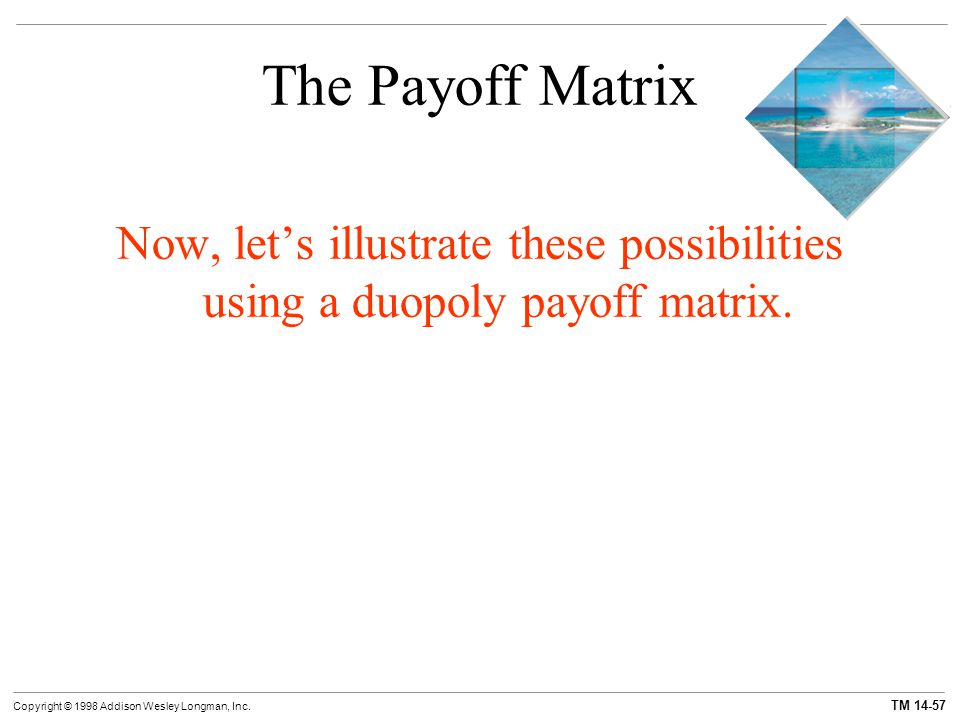 The Payoff Matrix Now, let's illustrate these possibilities using a duopoly payoff matrix. 75