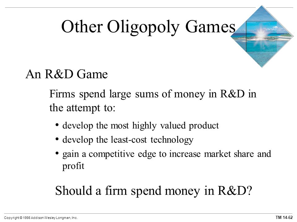Other Oligopoly Games An R&D Game Should a firm spend money in R&D
