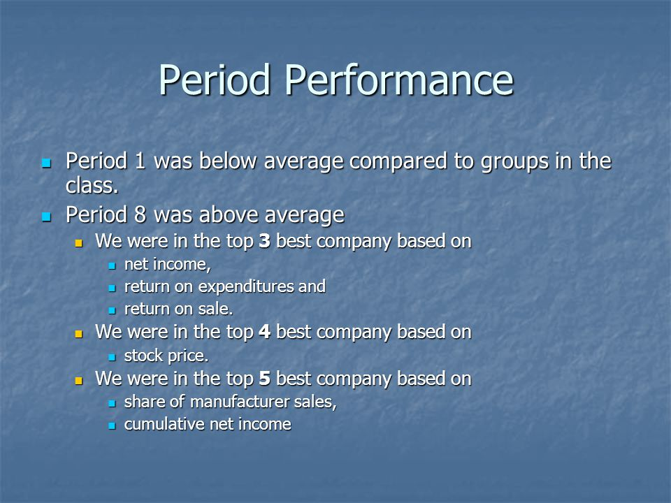 Period Performance Period 1 was below average compared to groups in the class. Period 8 was above average.