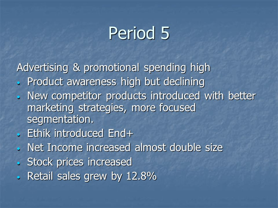 Period 5 Advertising & promotional spending high