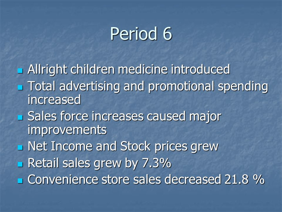 Period 6 Allright children medicine introduced