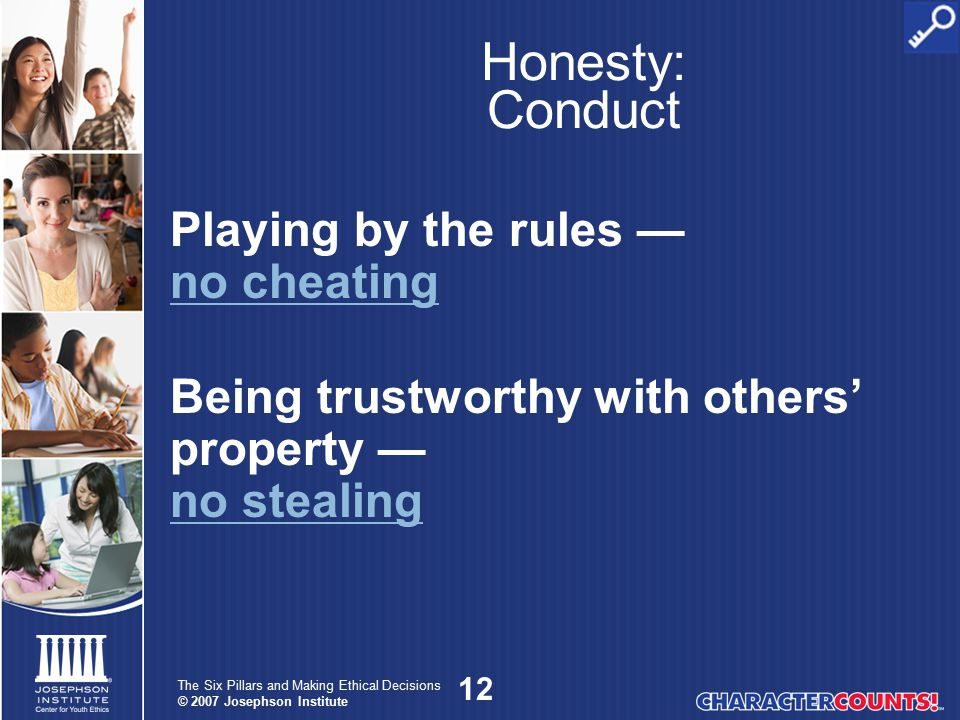 Honesty: Conduct Playing by the rules — no cheating