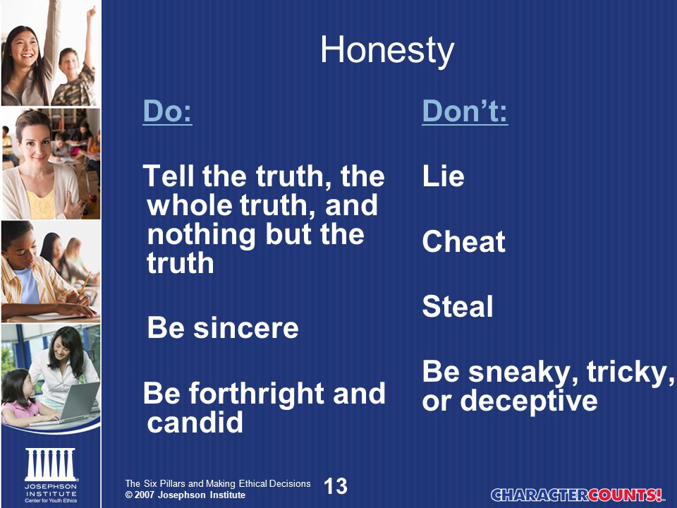 Honesty Do: Tell the truth, the whole truth, and nothing but the truth