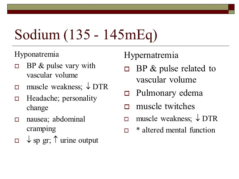 Sodium (135 - 145mEq) Hypernatremia
