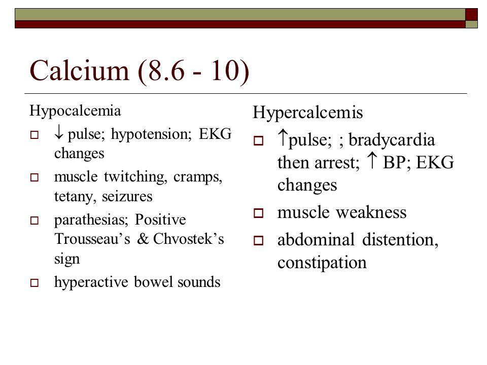 Calcium (8.6 - 10) Hypercalcemis