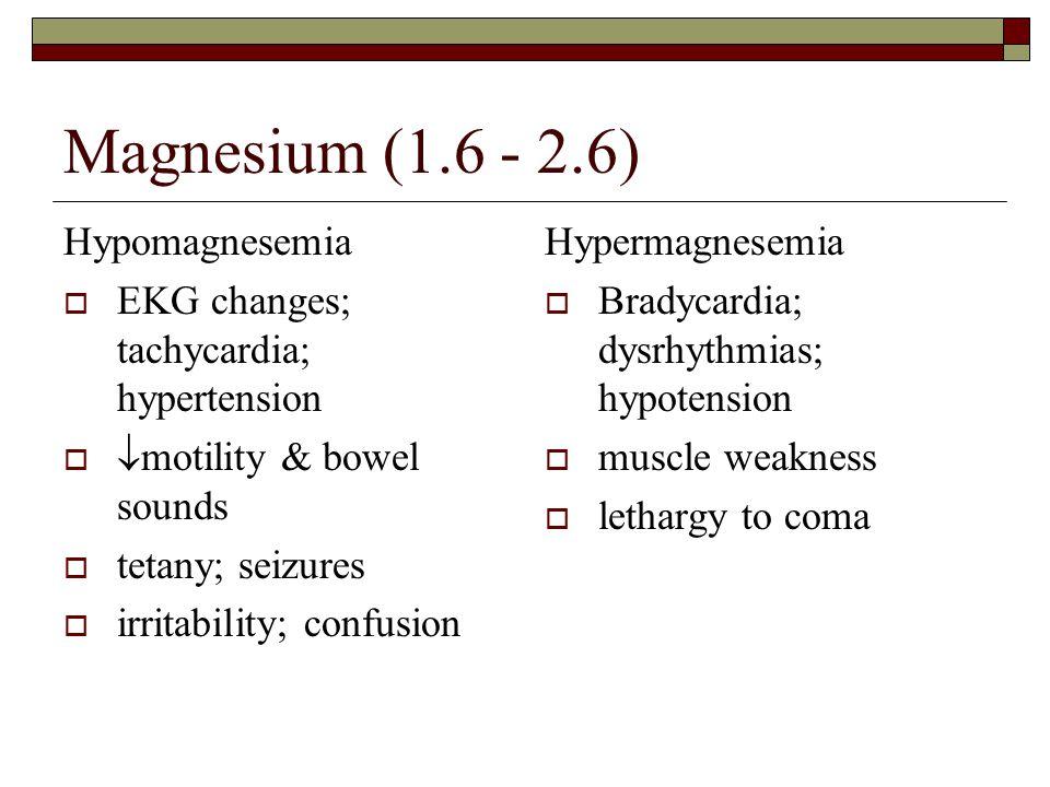 Magnesium (1.6 - 2.6) Hypomagnesemia