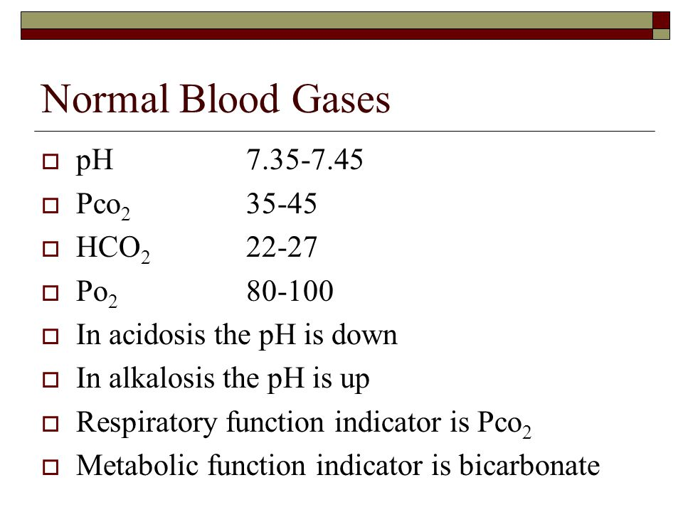 Normal Blood Gases pH 7.35-7.45 Pco2 35-45 HCO2 22-27 Po2 80-100
