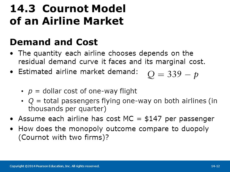 14.3 Cournot Model of an Airline Market