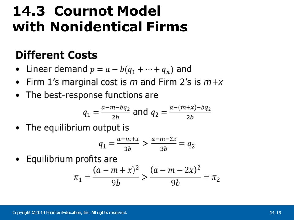 14.3 Cournot Model with Nonidentical Firms