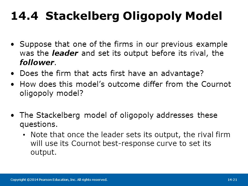 14.4 Stackelberg Oligopoly Model